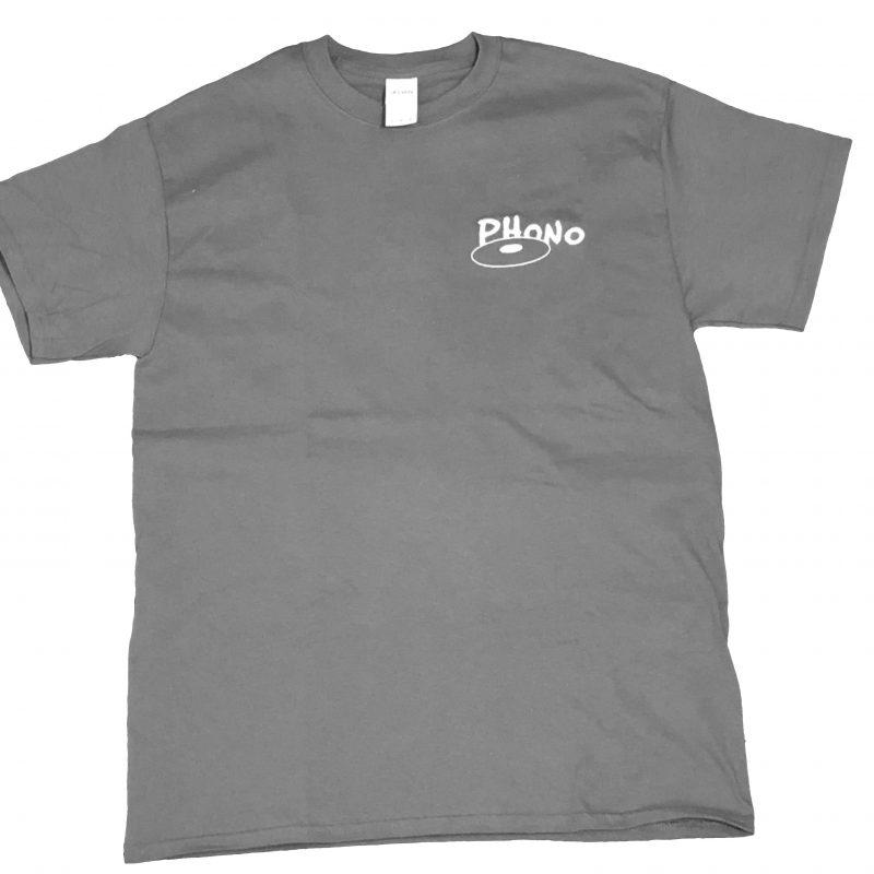 T-shirt Gris Phono Brodé en Blanc