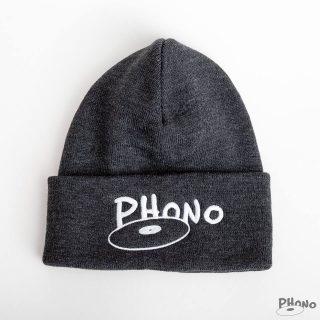 Phono-tuque-grise-Charcoal-orginal-disque-logo-phono.ca