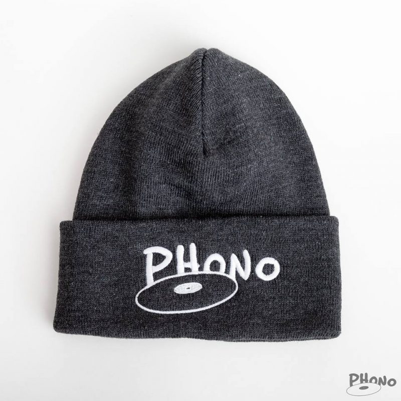 Phono-tuque-grise-Charcoal-orginal-disque-logo-phono.ca